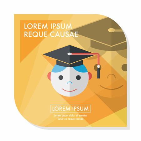valedictorian: Graduation Man flat icon with long shadow,eps10