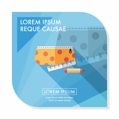 pencil box: pencil box flat icon with long shadow,eps10 Illustration