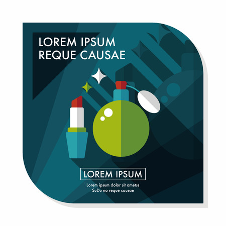 perfumery: shopping perfume and lipsticks flat icon with long shadow Illustration