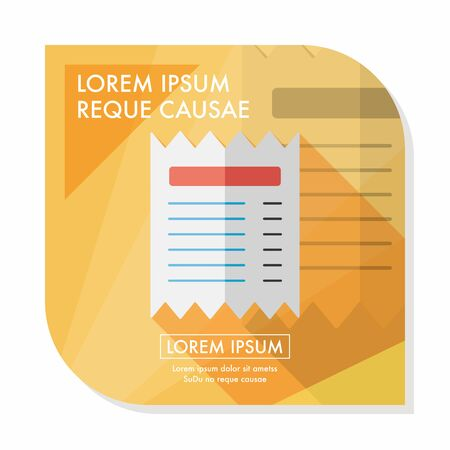 creditcard: shopping credit card bill flat icon with long shadow, Illustration