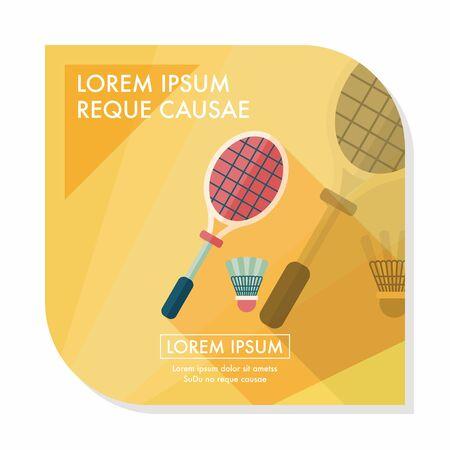 badminton racket: badminton racket and ball flat icon with long shadow,