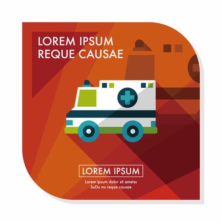 ambulance car: Transportation ambulance flat icon with long shadow