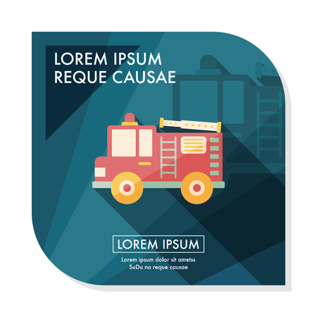 ladder safety: Transportation Fire truck flat icon with long shadow Illustration