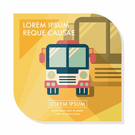 autobus escolar: Icono plana autobús Transporte con larga sombra