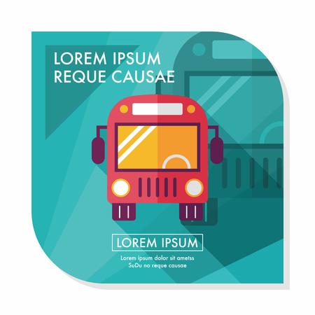 Bus Trasporti icona piatto con una lunga ombra