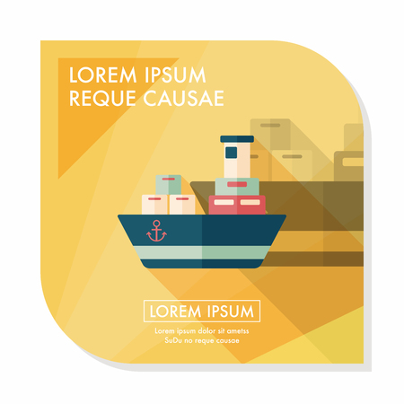 shipbuilder: Transportation Container ship flat icon with long shadow,