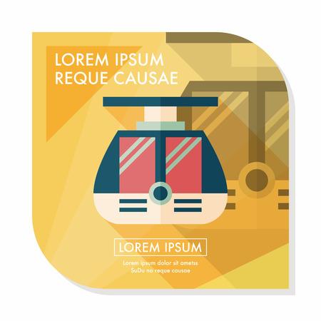 loco: tram flat icon with long shadow
