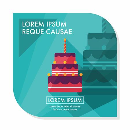 torta candeline: torta di compleanno icona piatto con una lunga ombra, eps10
