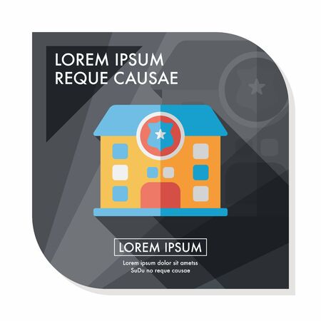 police station flat icon with long shadow,eps10 Vector