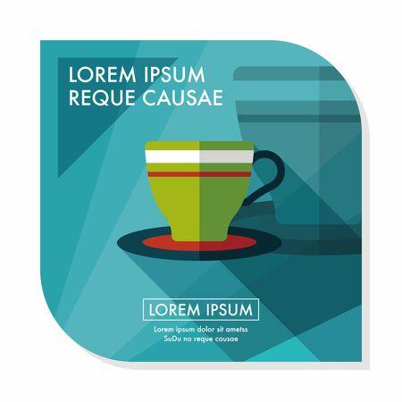 コーヒーカップ: 長い影、eps10 とコーヒー カップ フラット アイコン