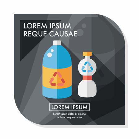 or recycled: Environmental protection concept flat icon with long shadow,eps10; Recycled water bottle