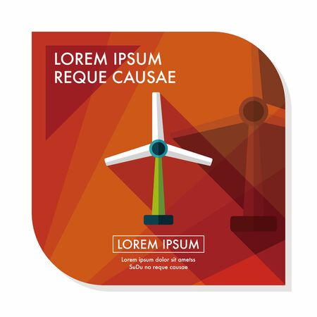 energy saving: Environmental protection concept flat icon with long shadow,eps10; wind energy; saving energy; renewable energy
