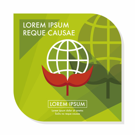 Environmental protection concept flat icon with long shadow,eps10; Protect our environment, protect our planet