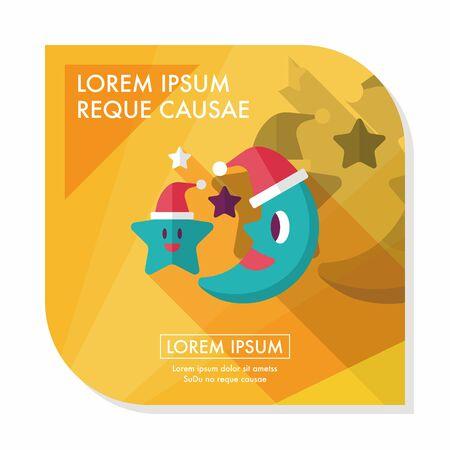 kerstmuts: maan en ster met kerstmuts vlakke icoon met lange schaduw, eps10