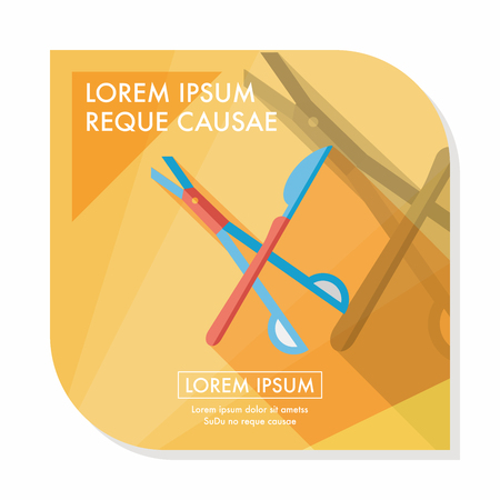 scalpel: Surgical Instrument flat icon with long shadow