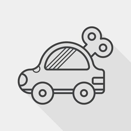toys: toy car flat icon with long shadow,eps10 Illustration