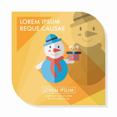 snowman background: snowman flat icon with long shadow, eps10