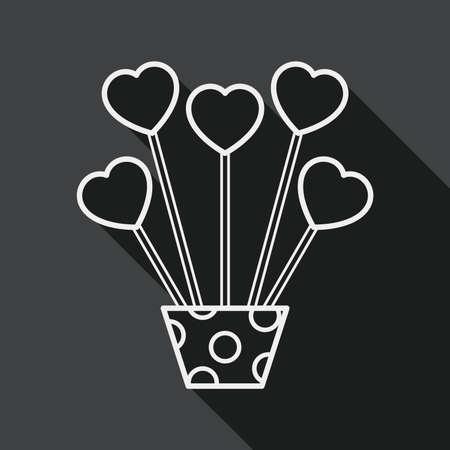 hart bloem: hart bloem platte icoon met lange schaduw, eps10