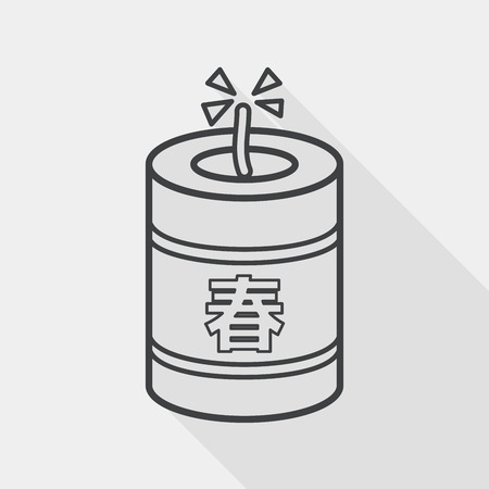 prosper: Chinese New Year flat icon, eps10, Chinese festival couplets with firecrackers means  wish the arrival of spring.