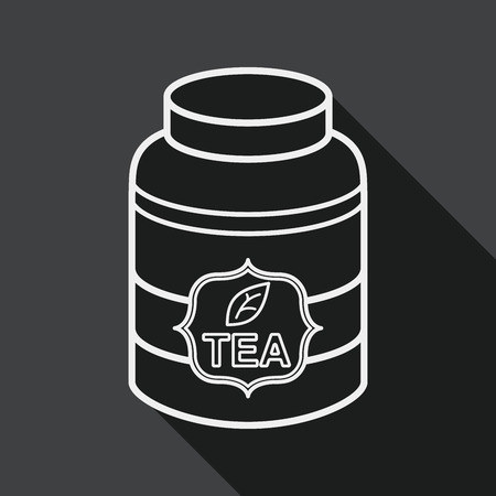 canister: tea canister flat icon with long shadow,eps10 Illustration