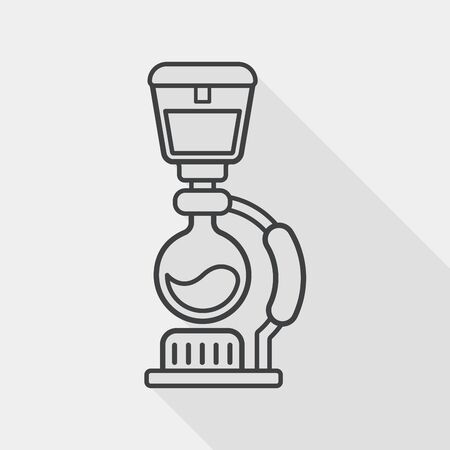 with coffee maker: coffee maker flat icon with long shadow,eps10