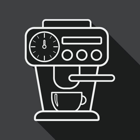 koffiezetapparaat vlakke icoon met lange schaduw, eps10
