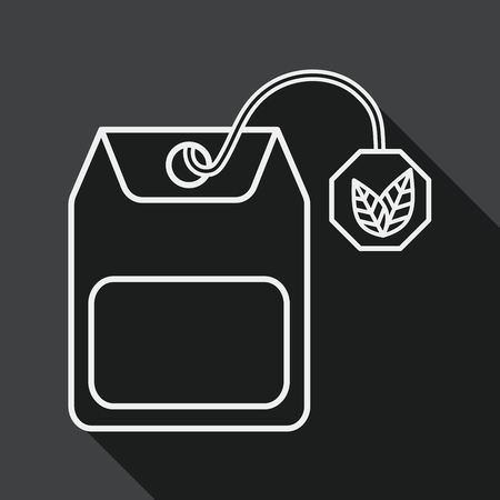 teabag: teabag flat icon with long shadow,eps10 Illustration