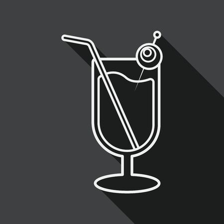 Halloween cocktail flat icon with long shadow,eps10 Vector
