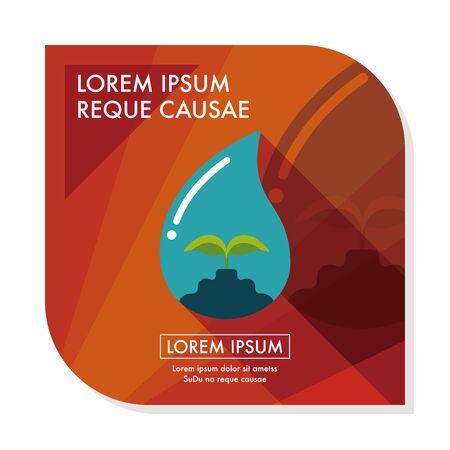 conservacion del agua: Concepto de protecci�n del medio ambiente icono plana con una larga sombra, eps10; Conservar el agua, proteger el medio ambiente.