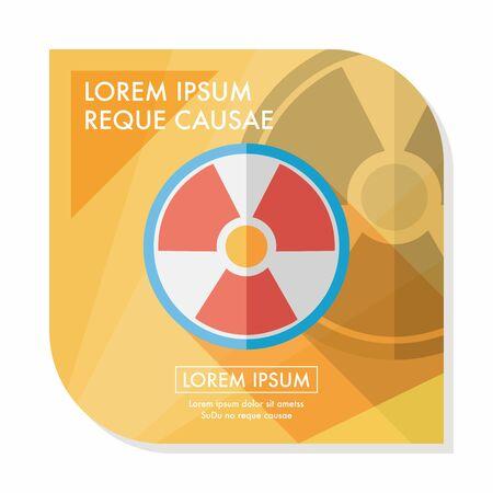 chemical hazards: Radiation flat icon with long shadow Illustration