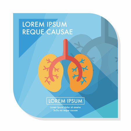 human lung: Lungs flat icon with long shadow Illustration