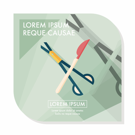 surgical: Surgical Instrument flat icon with long shadow