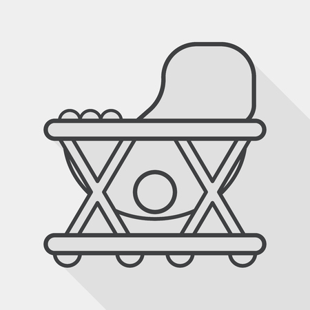 walker: Baby walker flat icon with long shadow,eps10 Illustration