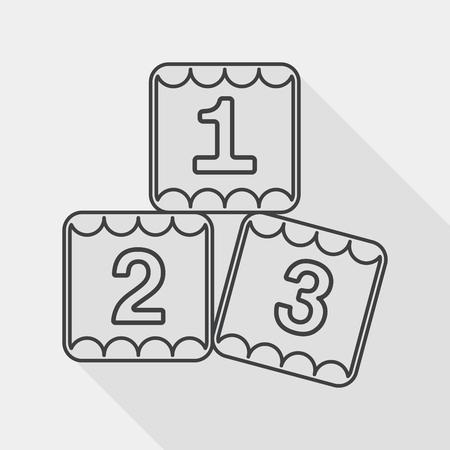 preschool: 123 blocks flat icon with long shadow,eps10 Illustration