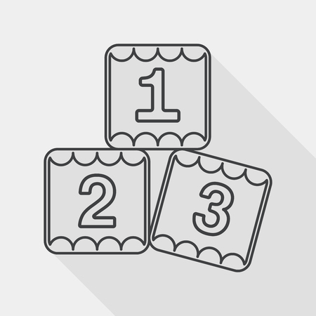 preescolar: 123 bloques icono plana con una larga sombra, eps10 Vectores