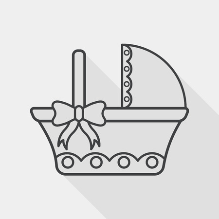 babysitter: baby cradle bed flat icon with long shadow,eps10