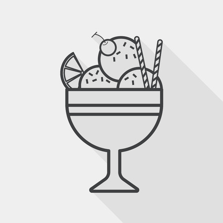 sweet sauce: ice cream flat icon with long shadow,eps10