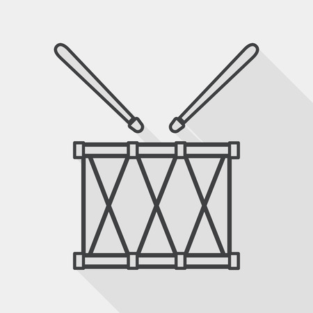 drumset: drum flat icon with long shadow,eps10