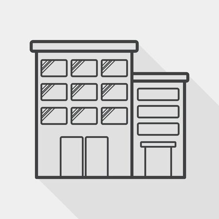 built structure: Building apartment flat icon with long shadow,eps10 Illustration