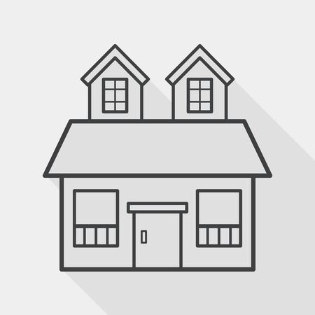 Building flat icon with long shadow,eps10 Vector