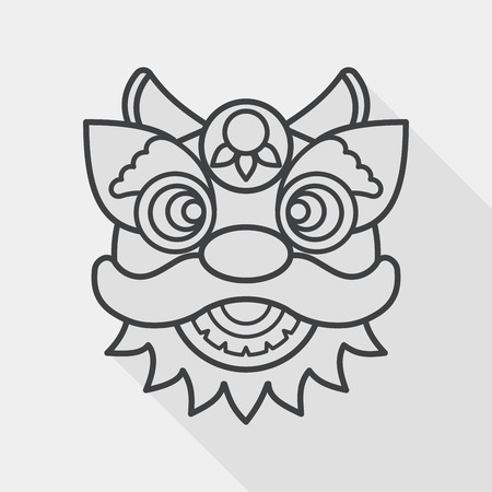 dance shadow: Chinese New Year flat icon with long shadow,eps10,The dragon and lion dancing head