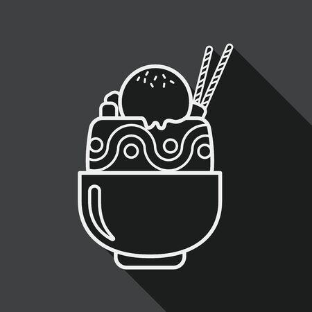 coppa di gelato: sundae icona piatta con una lunga ombra, eps10 Vettoriali