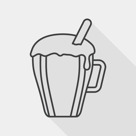 take out: hot milk cream coffee flat icon with long shadow,eps10 Illustration