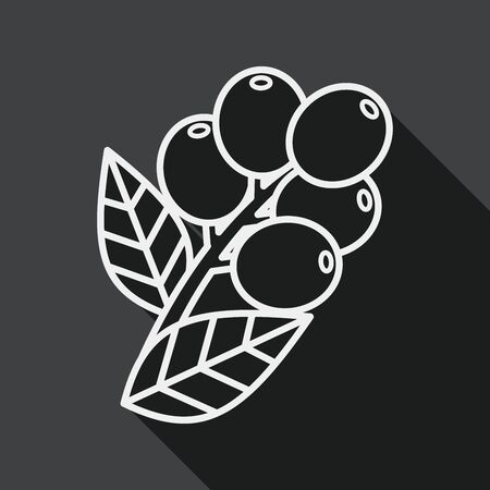 coffee crop: coffee fruit flat icon with long shadow,eps10