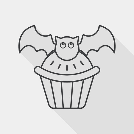 viewpoints: Halloween cupcakes with bat flat icon with long shadow,eps10