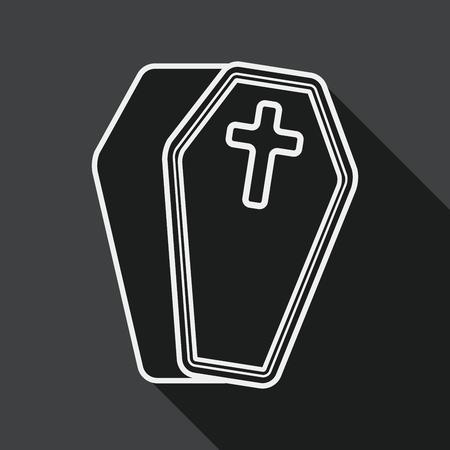 trumna: Ikona trumna falt z długim cieniem, eps10