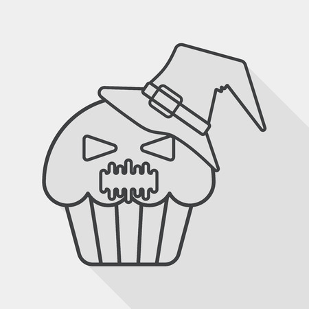 viewpoint: Halloween cupcakes with ghost flat icon with long shadow,eps10