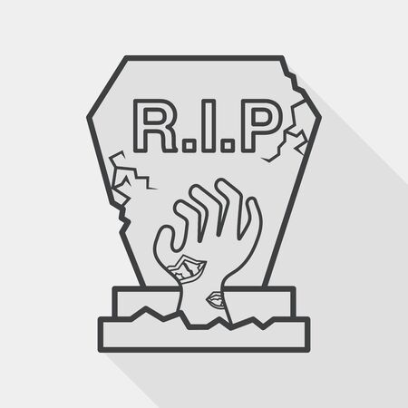 grave stone: grave flat icon with long shadow,eps10