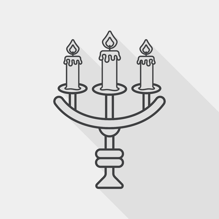candelabrum: Halloween candlestick flat icon with long shadow,eps10 Illustration