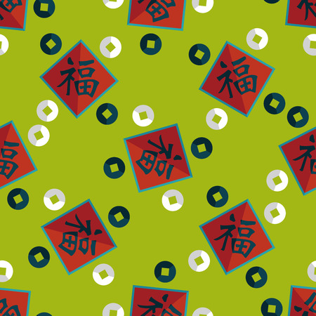 spring festival couplets: Chinese New Year flat icon with long shadow,eps10, Chinese couplets with Chinese word fu means  wish fortune and lucky comes Illustration